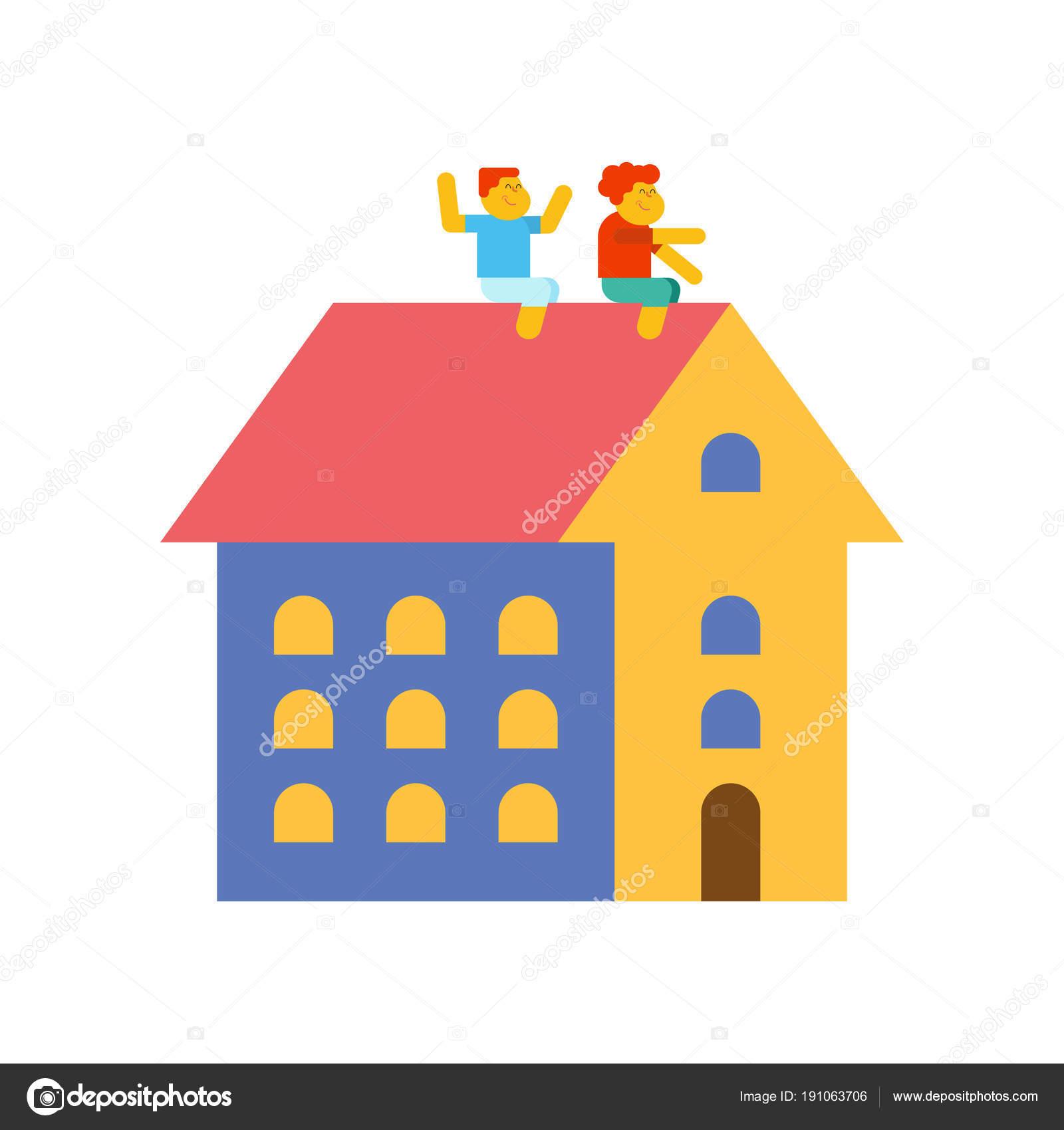 Kinder Spielen Am Dach Des Hauses. Vektor Illustration U2014 Stockvektor