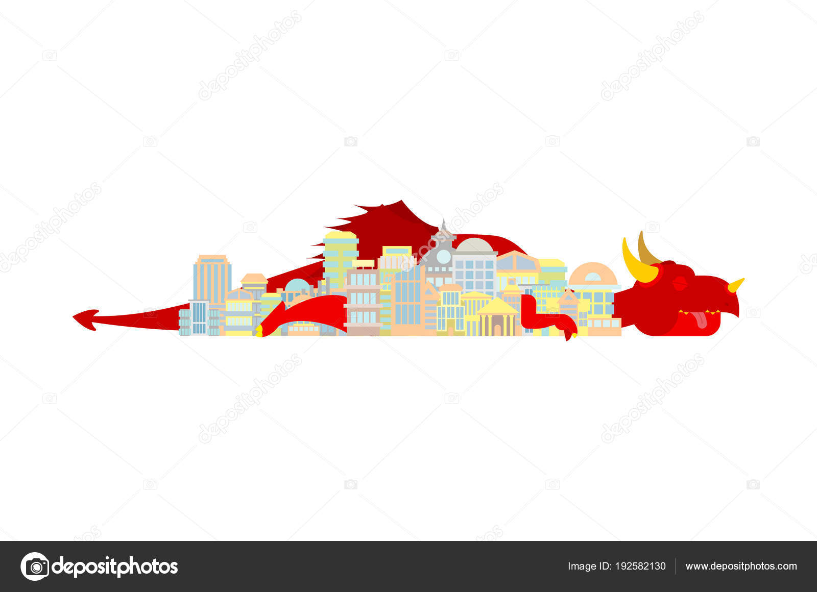 Dragon duerme en la ciudad. Monstruo mítico de la ciudad — Archivo ...