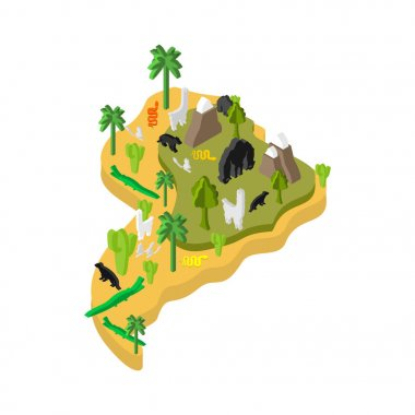 South America Isometric Map Animal and plants. flora and fauna o