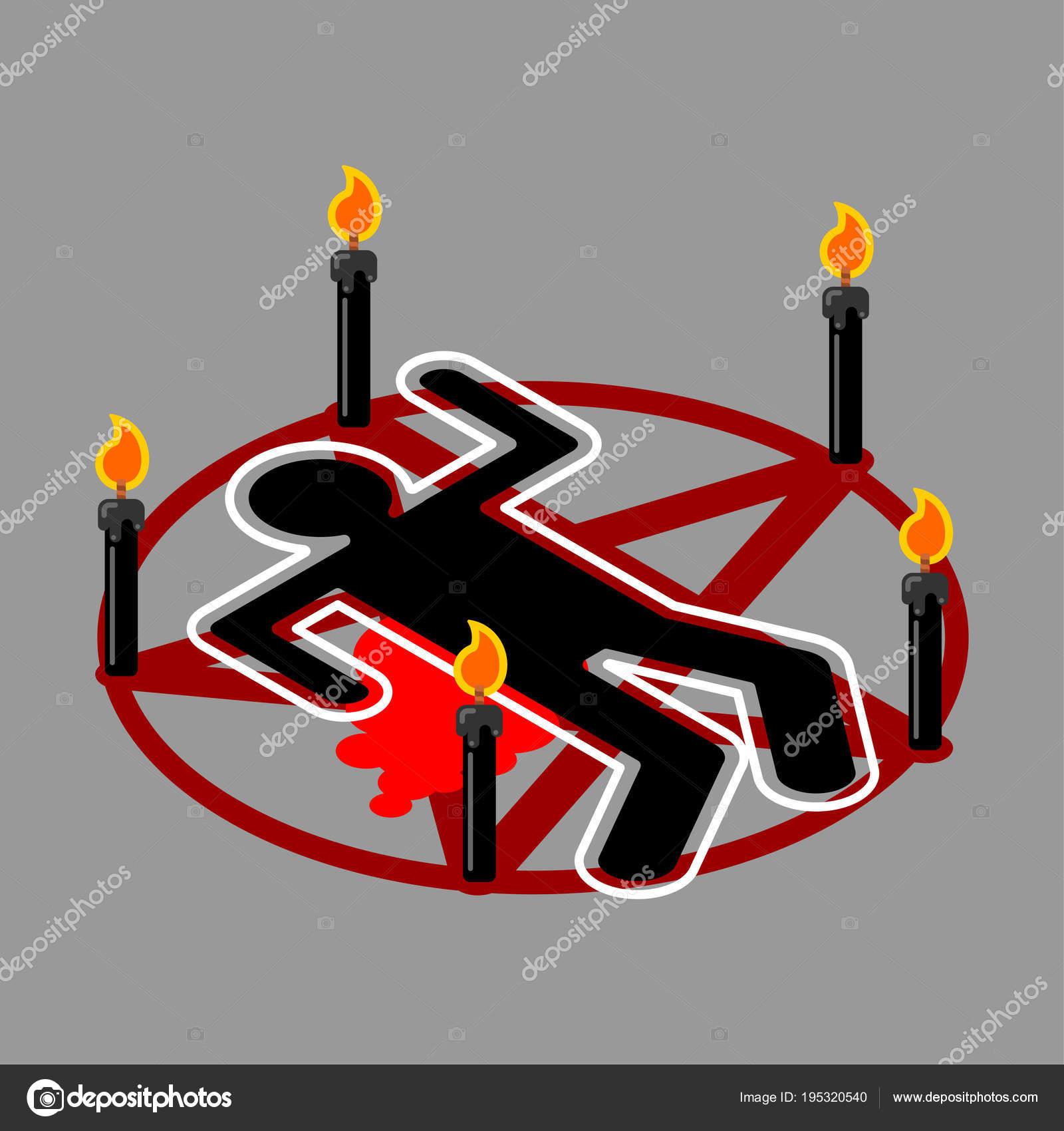Sacrificio ritual. Pentagrama del diablo. Signo de Satanás. Llamar ...