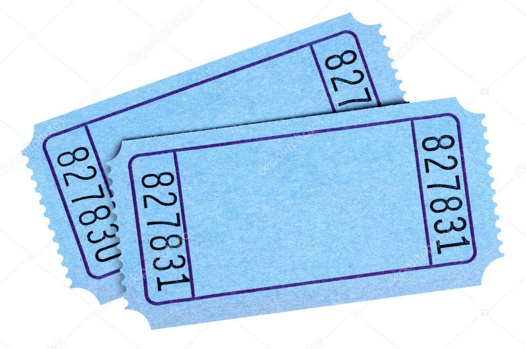 pair of blank blue movie or raffle tickets isolated on white bac stock photo