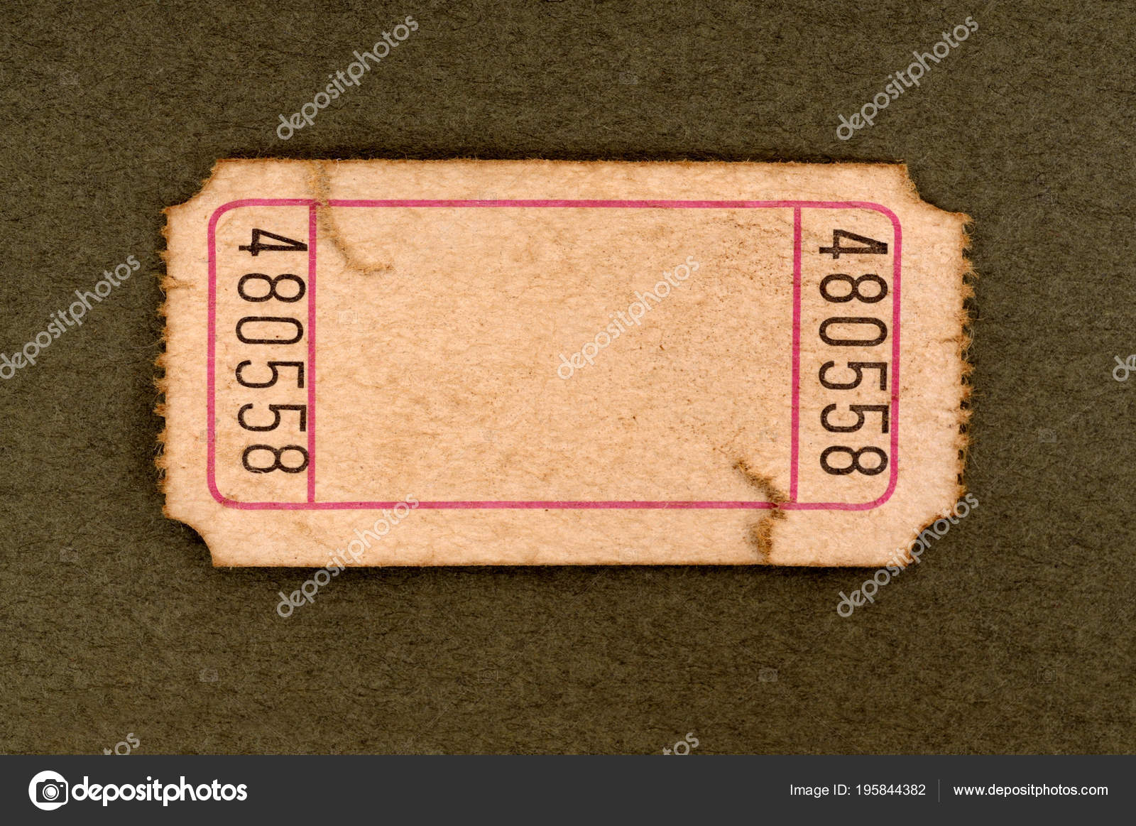 old torn blank movie raffle ticket mottled brown paper background