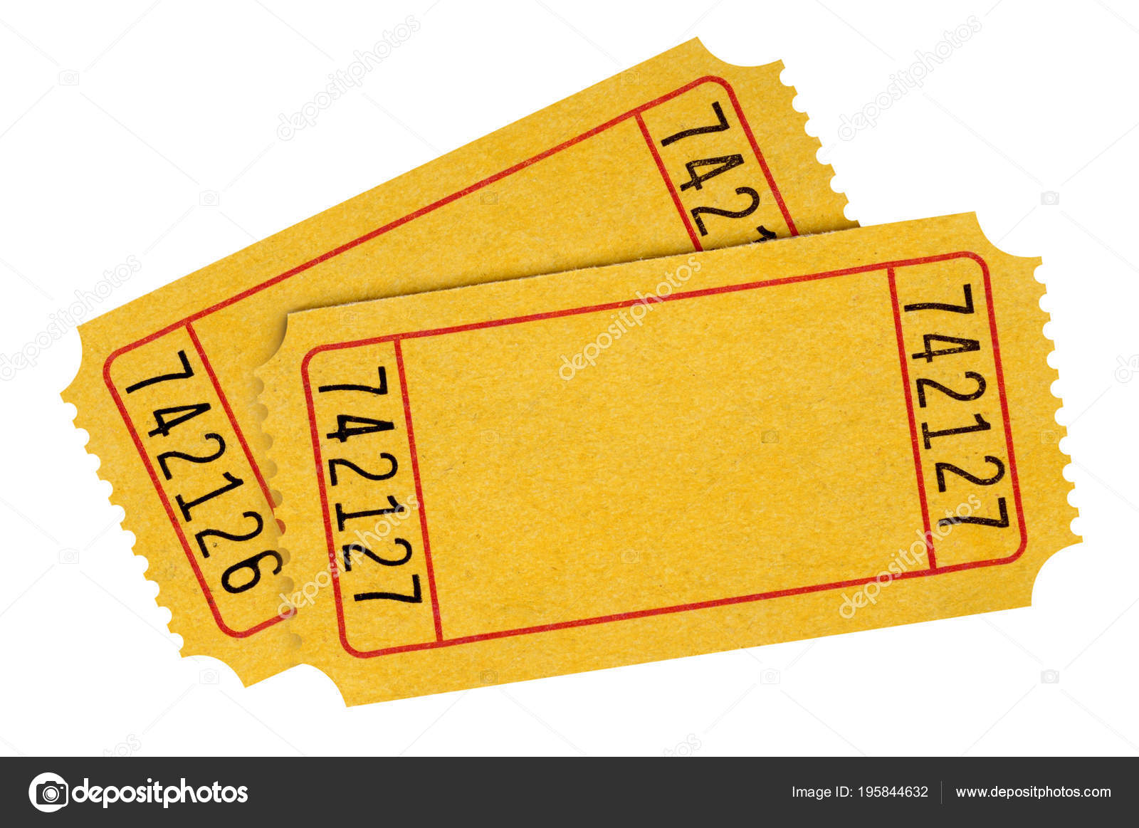 two blank yellow raffle tickets isolated white background stock