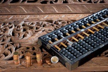 Abacus on Thai style teak wood carving