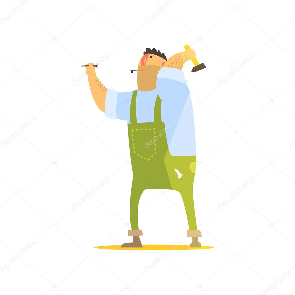 Builder With Hammer And Nails On Construction Site
