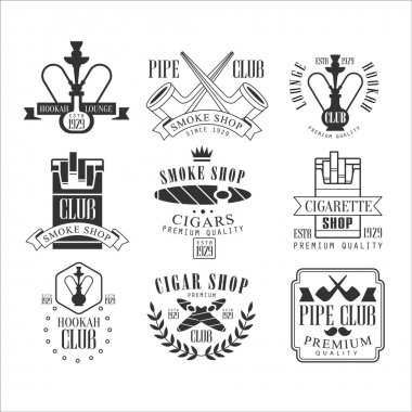 Smoke Shop Vintage Black And White Emblems.