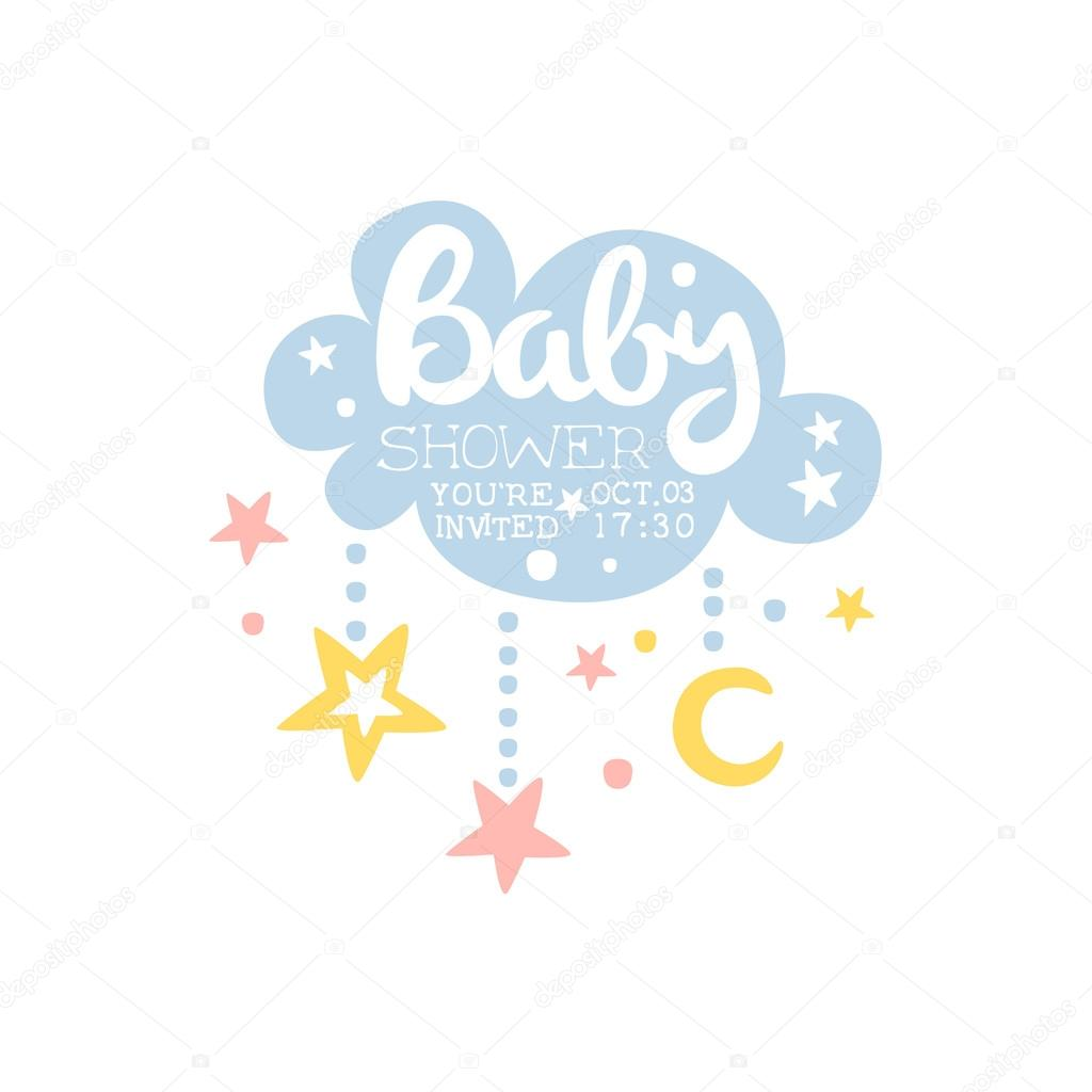 Baby Shower Template | Cloud And Stars Baby Shower Invitation Design Template Stockvektor