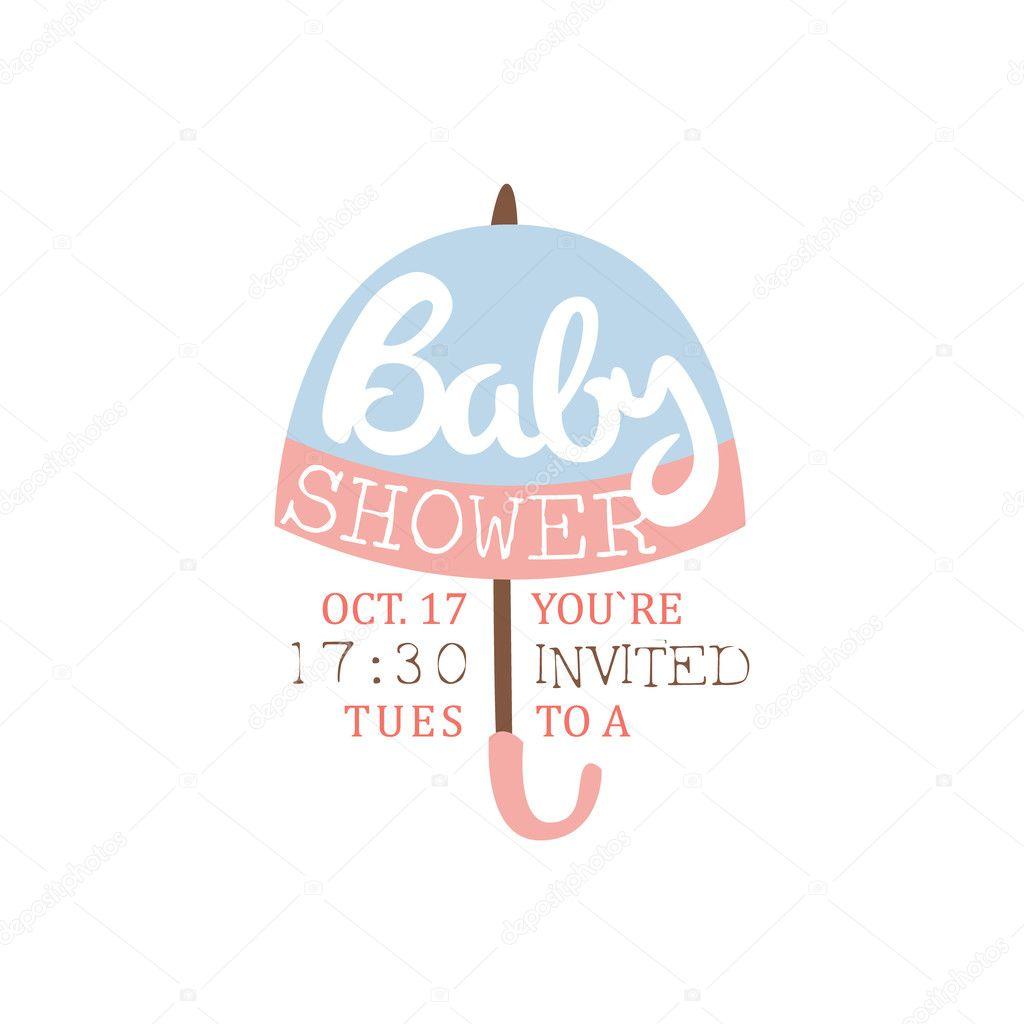 Baby Shower Invitation Design Template With Umbrella Silhouette