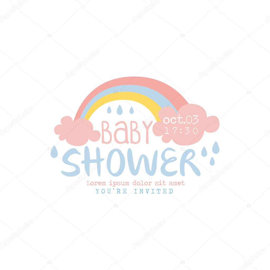 Baby Shower Invitation Design Template With Rainbow Vector De