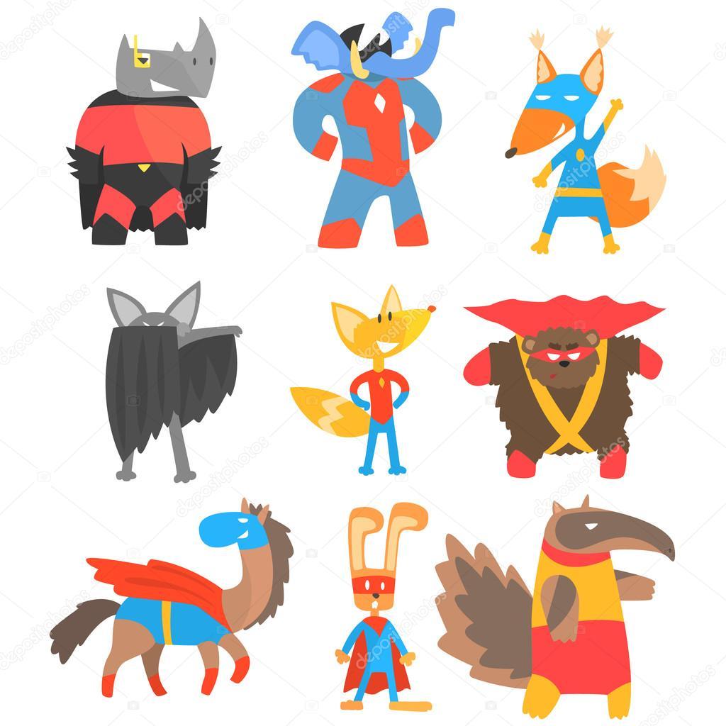 Animas Disguised As Superheroes Set Of Geometric Style Stickers