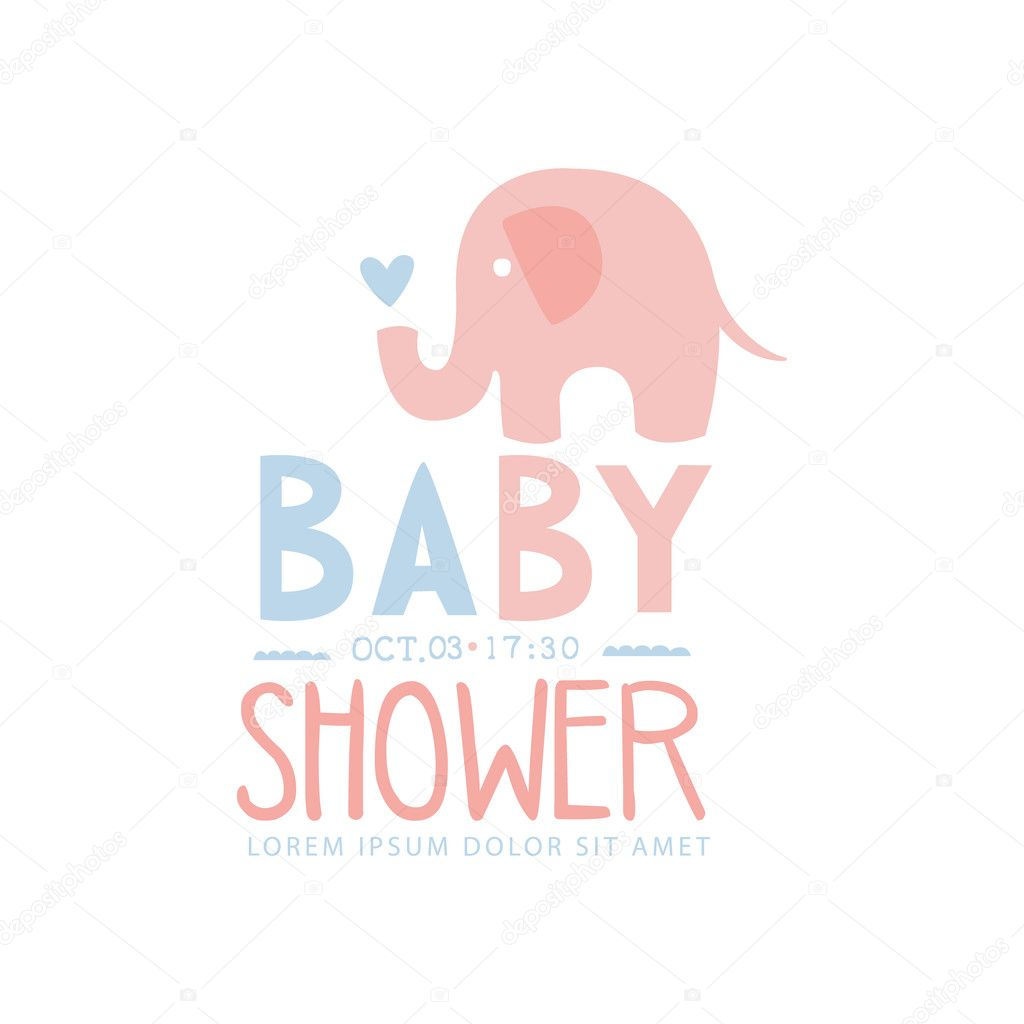 Baby Shower Invitation Design Template With Toy Elephant Archivo