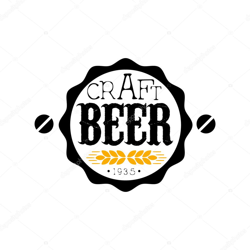 Craft beer round logo design template stock vector for Craft beer logo design