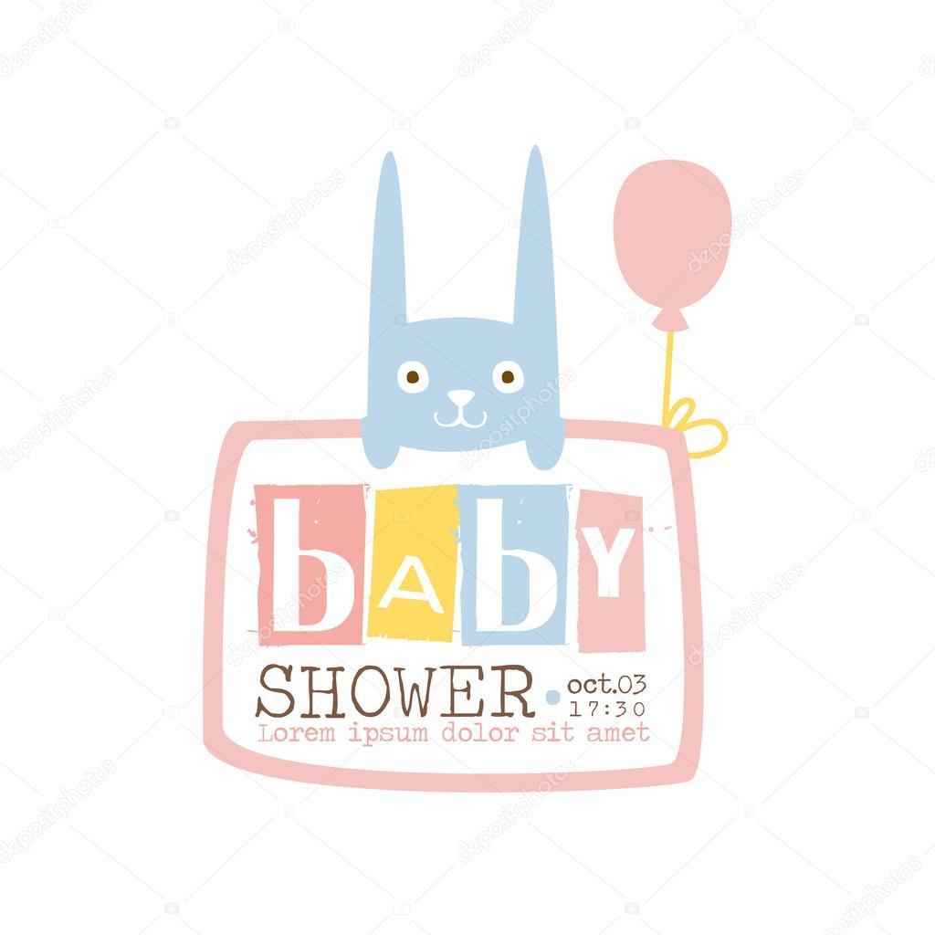 Baby Shower Invitation Design Template With Rabbit Archivo