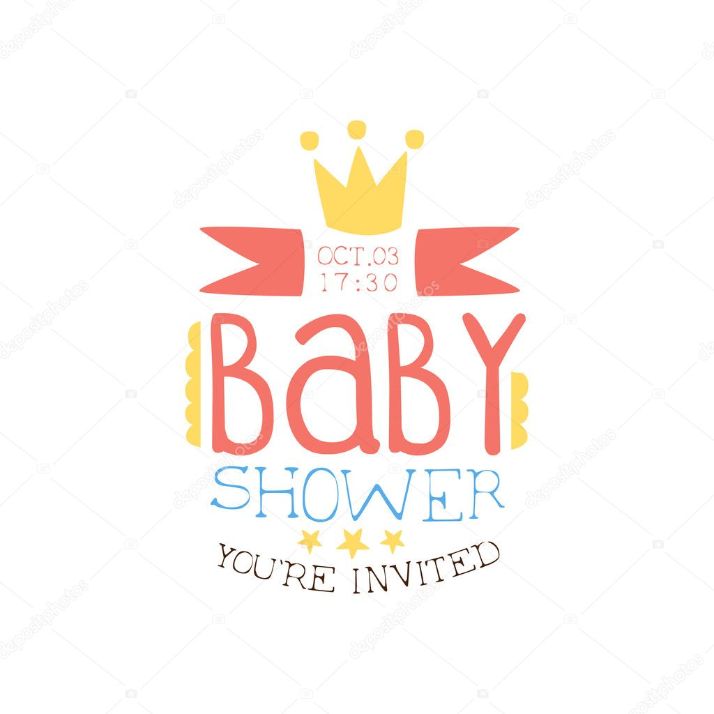 Baby shower invitation design template with crown vetores de stock baby shower invitation design template with crown vetores de stock stopboris Images