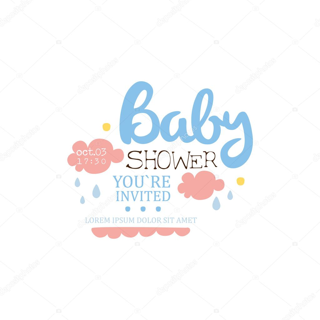 Baby shower invitation design template with clouds vetor de stock baby shower invitation design template with clouds vetor de stock stopboris Gallery