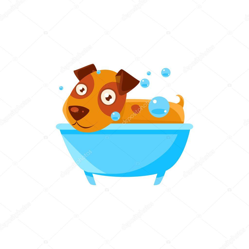Puppy Taking A Bubble Bath In Tub — Stock Vector © TopVectors #126745912