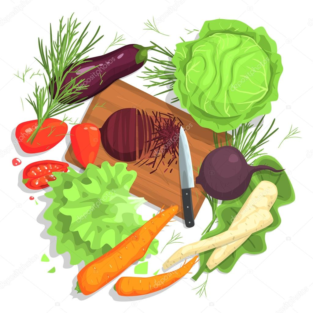 cutting vegetables drawing with board and fresh crops u2014 stock