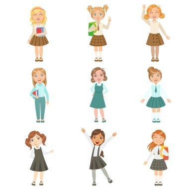 Girls Wearing An Assortment Of Classy School Uniforms Set