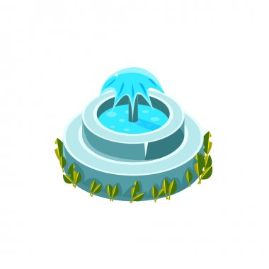 Classy Round Fountain Isometric Garden Landscaping Element
