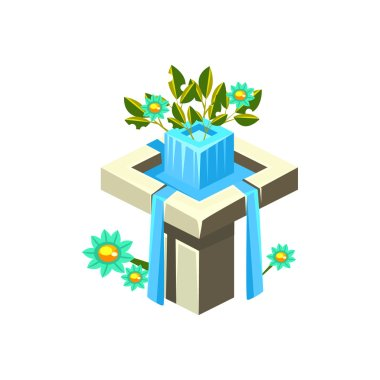 Classy Square Fountain Isometric Garden Landscaping Element