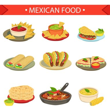 Mexican Food Signature Dishes Illustration Set. Traditional Cuisine Restaurant Menu Plates In Simplified Vector Drawings, clip art vector