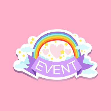 Event Template Label With Rainbow and hearts