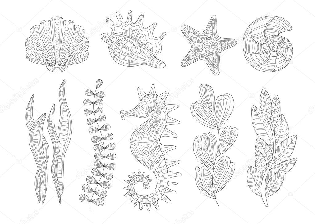 Kleurplaten Dieren Onder Water.Onderwater Planten En Dieren Zentangleset Stockvector C Topvectors