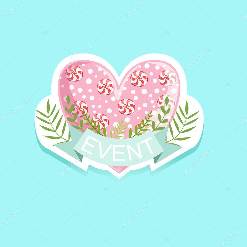 Etiqueta de evento con corazón de caramelo — Archivo Imágenes ...