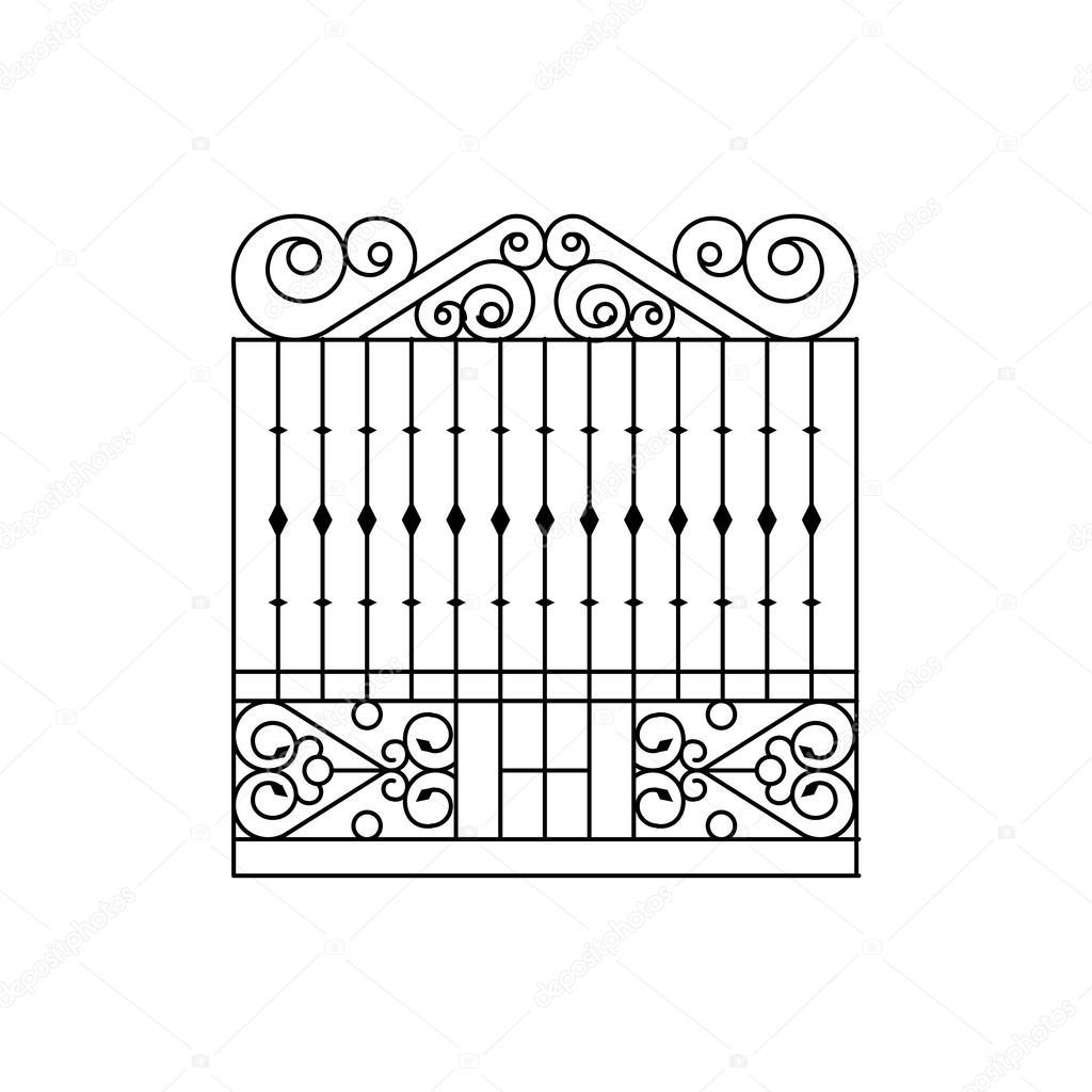Beeindruckend Zaun Design Foto Von Metall-gitter Design. Geschmiedete Eisen Gitter Park Schwarz-weiß