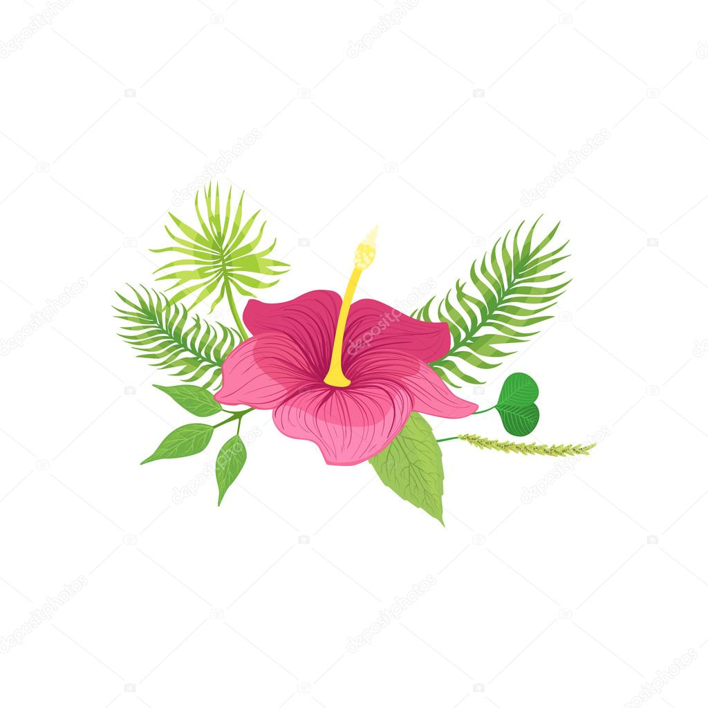 Tropical Flower And Leafs Hawaiian Vacation Classic Symbol