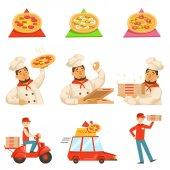 Fotografia Illustrazione della pizza Delievery veloce servizio processo Info