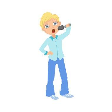 Boy In Blue Outfit Singing In Karaoke