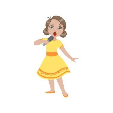 Girl In Yellow Dress Singing In Karaoke