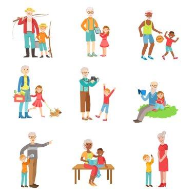 Grandparents And Kids Spending Time Together Set