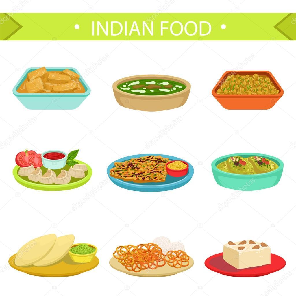インド料理の有名な料理イラスト セット ストックベクター