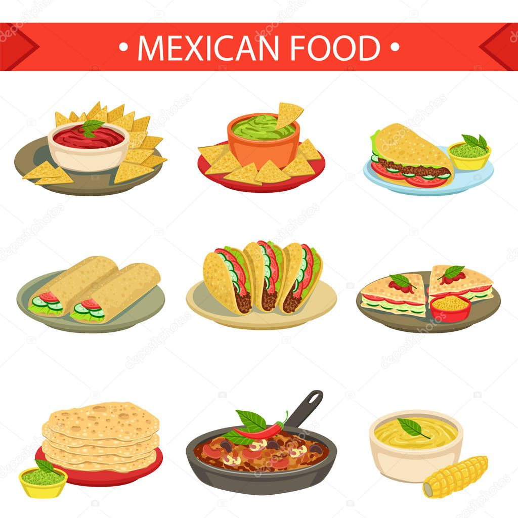 Mexican Food Signature Dishes Illustration Set. Traditional Cuisine Restaurant Menu Plates In Simplified Vector Drawings \u2014 Vector by TopVectors  sc 1 st  Depositphotos & Mexican Food Signature Dishes Illustration Set \u2014 Stock Vector ...