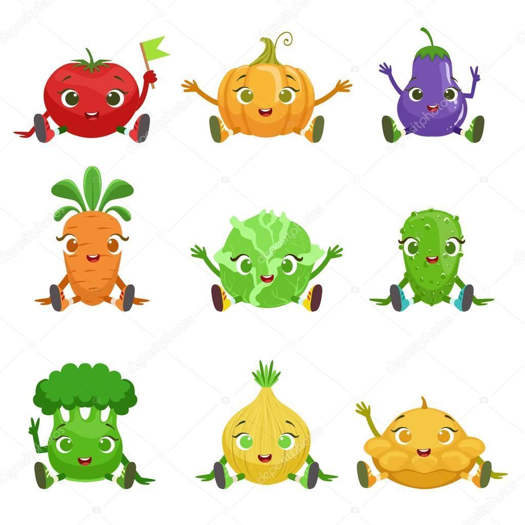 座っていると手を振って野菜かわいいガーリーな文字 — ストックベクター