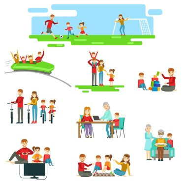 Happy Family Having Fun Together Set Of Illustrations