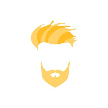 Hipster Male Hair and Facial  Style With Full Blond Beard  Side Fringe