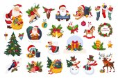 Photo Classic Beautiful Christmas Stickers On White Background