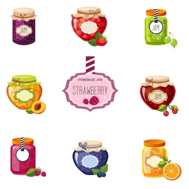 Different Berry And Fruit Jam Jars Set Of Illustrations