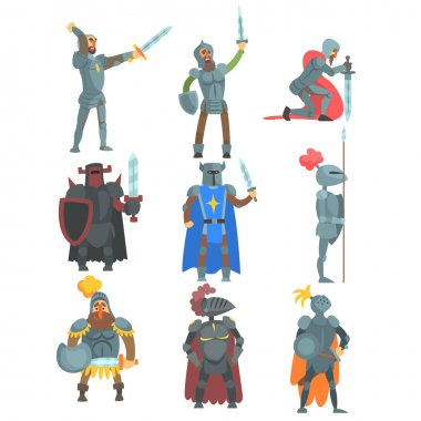 Knights In Full Armor Set Of Flat Illustrations