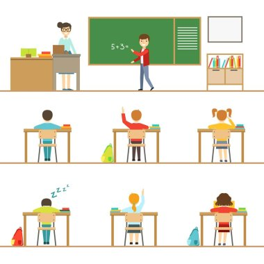 Mathematics Classroom And Kids Behind The Desks Set Of Illustrations