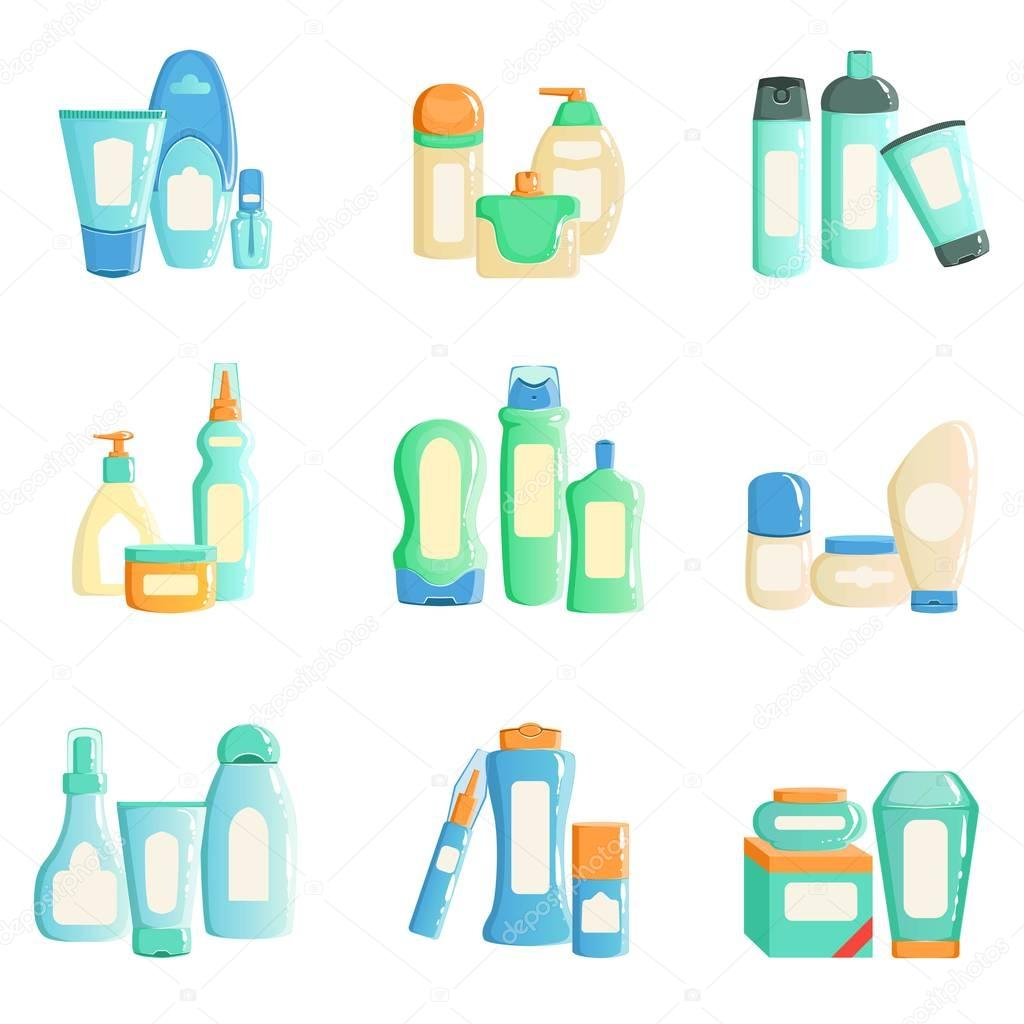 Cosmetc Products Bottles Sets Collection Of Illustrations