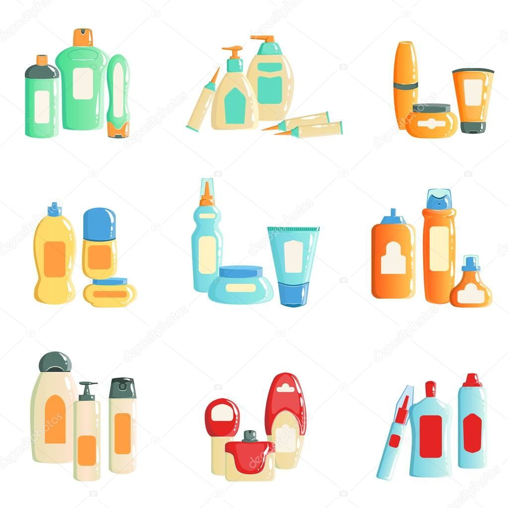 Spa Products Bottles Sets Collection Of Illustrations
