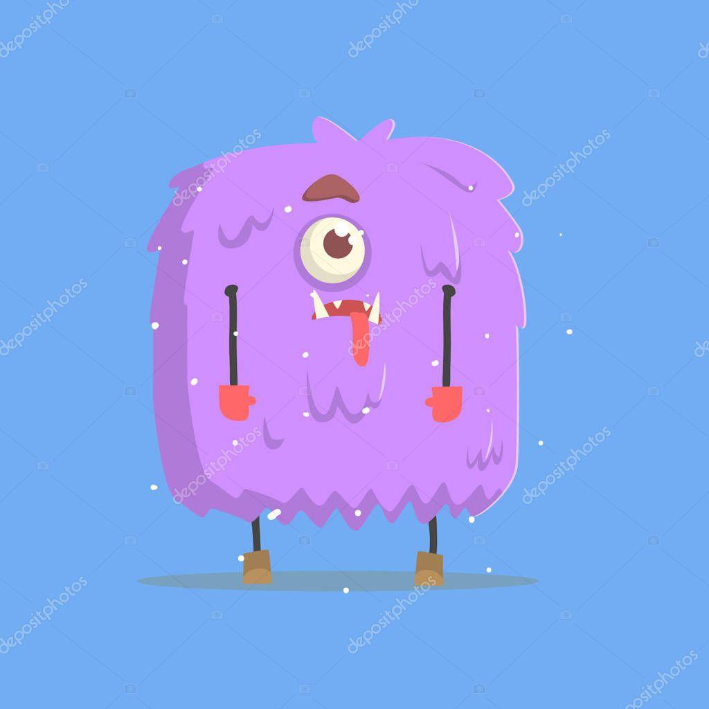 Monstruo gigante peludo violeta cuadrado en invierno — Archivo ...