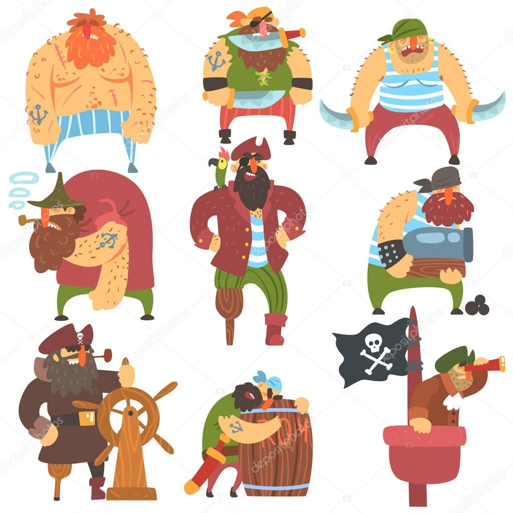 Scruffy Pirates Cartoon Characters Set