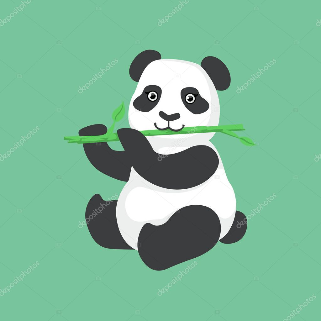 Cute Panda Character Eating Bamboo Illustration
