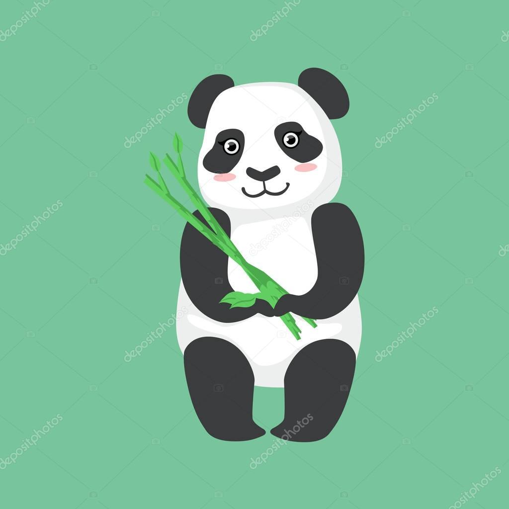 Cute Panda Character Holding Bamboo Sticks Illustration