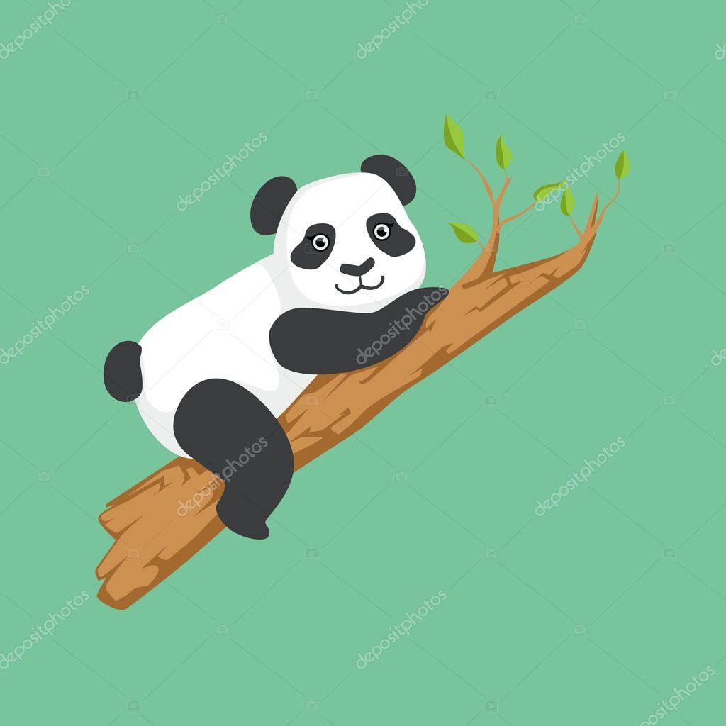 Cute Panda Character Climbing A Tree Illustration